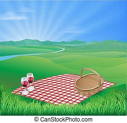 piękny, wiejski, piknik, scena