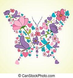 piękny, wiosna, formułować, kwiaty, motyl
