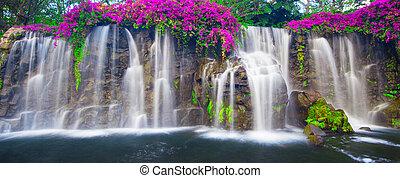 piękny, wodospad, soczysty