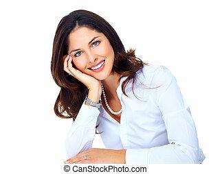 piękny, woman., młody, handlowy