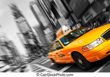 piękny, wszystko, skwer, taksówka, miasto, żółty, czasy, ruch, blur., czarnoskóry, york, trademarks, nowy, logo, biały, zamazany, na zewnątrz.