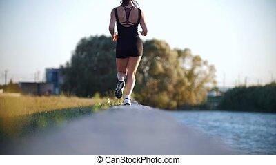 piękny, wyścigi, kobieta, młody, rzeka