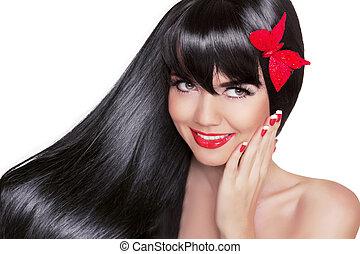 piękny, wzór, kobieta, fason, piękno, zdrowy, biały, odizolowany, długi, blask, tło., jasny, brunetka, czarnoskóry, makijaż, hair., portret, uśmiechanie się, święto, dziewczyna, szczęśliwy