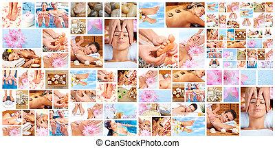 piękny, zdrój, collage., masaż