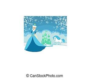 piękny, zima, księżna
