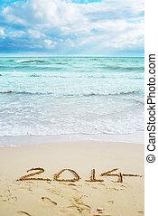 piękny, znaki, rok, 2014, plaża, prospekt