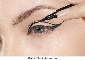 piękny, zwracający się, eyeliner, closeup, oko, wzór