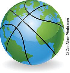 piłka, światowa kula, pojęcie, koszykówka