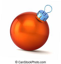 piłka, boże narodzenie, rok, pomarańcza, nowy, szczęśliwy, bauble, dekoracje