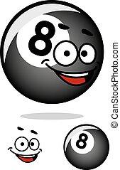 piłka, cartooned, twarz, osiem, kałuża, szczęśliwy
