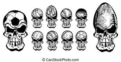 piłka, czaszki