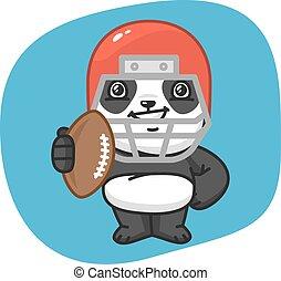 piłka, futbolowy gracz, amerykanka, dzierżawa, panda
