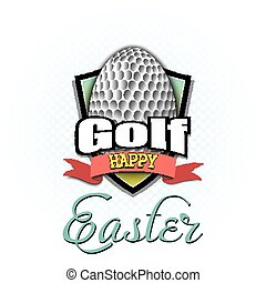piłka, golf, kształt, easter., jajko, szczęśliwy