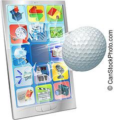 piłka, golf, przelotny, komórka głoska, poza