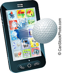 piłka, golf, ruchomy, przelotny, telefon, poza