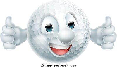 piłka, golf, rysunek, maskotka
