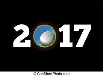 piłka, golf, tło, rok, nowy, otwór, spadanie, szczęśliwy