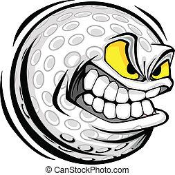 piłka, golf, wizerunek, twarz, wektor, rysunek