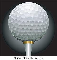 piłka, golfowy trójnik, złoty