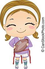 piłka, ilustracja, bandera, stopa, dziewczyna, koźlę