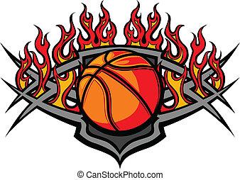 piłka, koszykówka, płomień, szablon