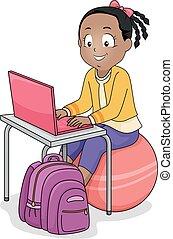 piłka, laptop, ilustracja, dziewczyna, ruch, koźlę