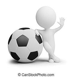 piłka, ludzie, cielna, -, gracz, mały, piłka nożna, 3d