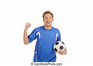 piłka, młody, player., odizolowany, ręka, radosny, gracz, znowu, jego, biały, piłka nożna, gesturing, przystojny