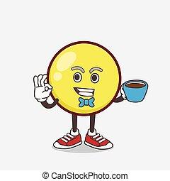 piłka, maskotka, emoticon, filiżanka, rysunek, kawa, żółty, litera