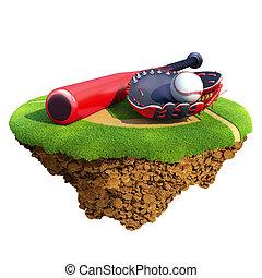 piłka, mitt), nietoperz, rękawiczka, (catcher's, baseball