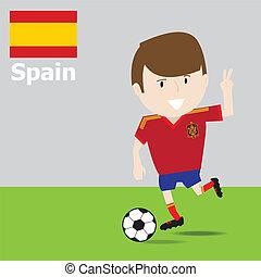 piłka nożna, hiszpania, sprytny, player.