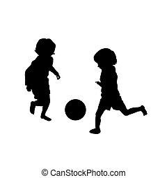 piłka nożna, interpretacja, dwa, dzieciaki