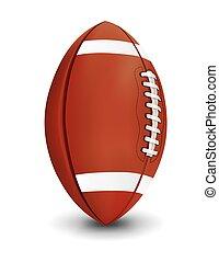 piłka nożna, odizolowany, ilustracja, realistyczny, amerykanka, tło, biały