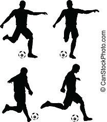 piłka nożna, pasaż, gracze, sylwetka, strajk, położenie, pozy