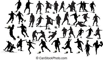 piłka nożna, players., ilustracja, wektor, czarnoskóry, biały, projektanci