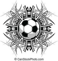 piłka nożna, plemienny, graficzny, wizerunek