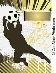 piłka nożna, szablon, grunge, gracz, piłka nożna, afisz, sylwetka