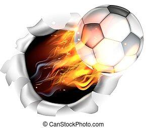 piłka nożna, tło, piłka, piłka nożna, płakanie, otwór, prażący