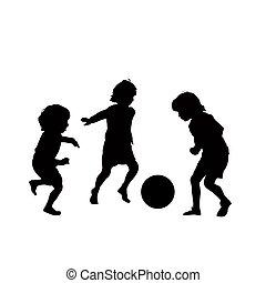 piłka nożna, wektor, dzieci