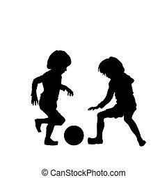 piłka nożna, wektor, dzieciaki