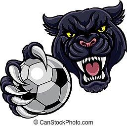 piłka, pantera, piłka nożna, czarnoskóry, dzierżawa, piłka nożna, maskotka