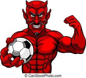 piłka, piłka nożna, lekkoatletyka, diabeł, dzierżawa, piłka nożna, maskotka