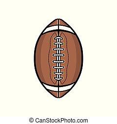 piłka, piłka nożna, odizolowany, ilustracja, amerykanka, biały