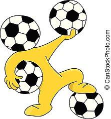 piłka, piłki, głowiasty, ilustracja, wektor, dzierżawa, piłka nożna, rysunek, maskotka