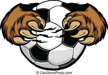 piłka, ponieście kleszcze, piłka nożna, wektor