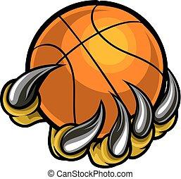 piłka, potwór, koszykówka, zwierzę, dzierżawa, pazur, albo