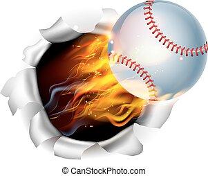 piłka, prażący, baseball, tło, otwór, płakanie