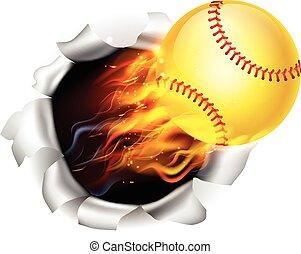 piłka, prażący, tło, softball, otwór, płakanie