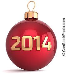piłka, rok, boże narodzenie, nowy, 2014, bauble