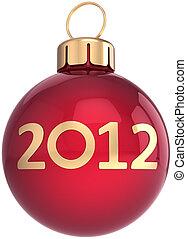 piłka, rok, nowy, 2012, boże narodzenie, szczęśliwy